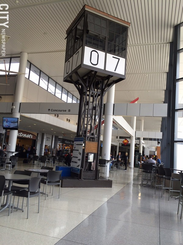 An air traffic control tower that was used at the airport until 1949, - now installed in the main concourse. - PHOTO BY MARY ANNA TOWLER