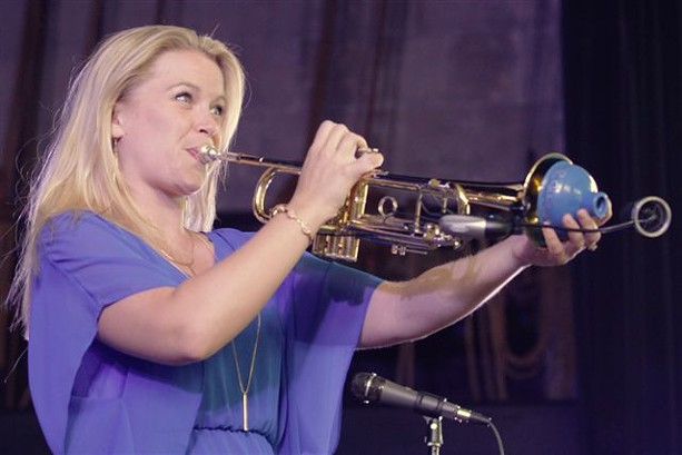 Trumpeter and singer Bria Skonberg performed at Harro East Ballroom Tuesday night. - PHOTO BY FRANK DE BLASE
