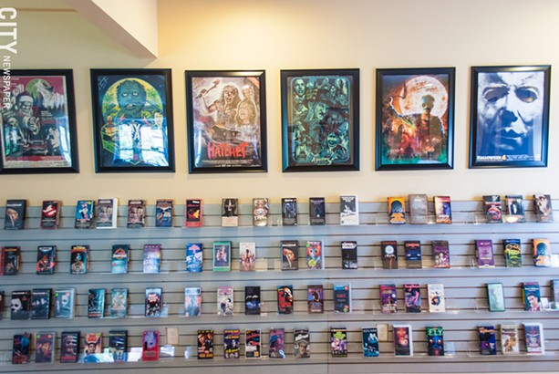 The Fright Rags office space in downtown Rochester is filled with horror memorabilia, and a library of VHS tapes. - PHOTO BY RYAN WILLIAMSON
