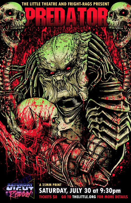 """Predator is part of the Saturday Night Rewind series at The Little Theatre. July 30: """"Predator"""" (1987), Directed by John McTiernan - COURTESY FRIGHT RAGS"""