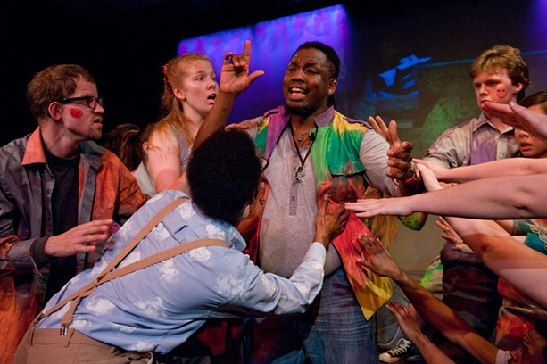 """A scene from """"Godspell,"""" on stage at Geva Theatre Center last spring. - PHOTO BY MARK BENJAMIN"""