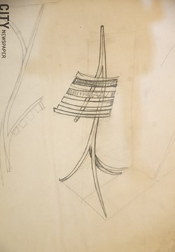 "Castle's drawing of his 1964 ""Music Rack,"" which is collected by the Memorial Art Gallery. - PHOTO BY MARK CHAMBERLIN"