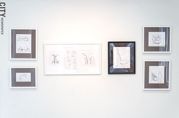 An installation view of Castle's drawings at University Gallery at RIT, on view through November 11. - PHOTO BY MARK CHAMBERLIN