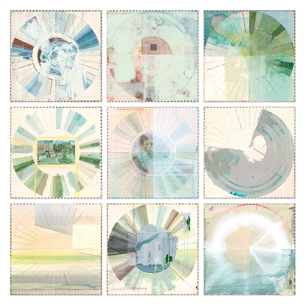 """A grid of nine mixed media """"Carolina Color Wheels"""" by Ellen Heck showcases the artist's color studies and experimentation, while existing as lovely pieces in their own right. - PHOTO PROVIDED"""