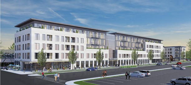 Morgan/Christa propose a mixed-unit development with 117 housing units: studios, and one- and two-bedroom units. Also: 26,000 square feet of retail-office space and underground parking. Christa also plans to move into the city. - PROVIDED IMAGE