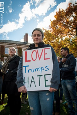 "Tori Fox St. Jacques at the ""Not My America"" rally held in the University of Rochester's Eastman Quadrangle last week. Several hundred people turned out to protest Donald Trump's election. - PHOTO BY RYAN WILLIAMSON"