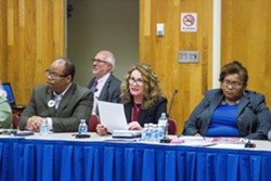 RCSD Superintendent Barbara Deane-Williams (center) presents findings from her listening tour. - PHOTO BY KEVIN FULLER
