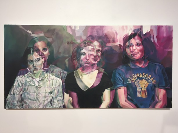 """""""No Pasaran!"""" Michael Hubbard's 2012 painting featuring the members of Pussy Riot. - PHOTO BY REBECCA RAFFERTY"""