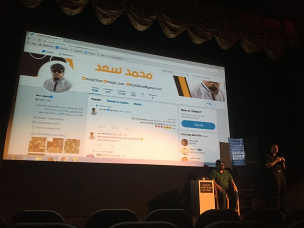 "Saad, a disabilities advocate, spoke on """"Seeing Clearly Now: Creative Technology - for the Blind in Saudi Arabia."" - PHOTO BY GRACIE PETERS"