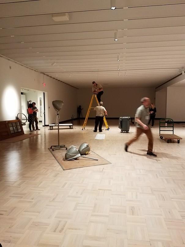 "Collaborative sculptural soundscape ""Rainforest IV"" installation in progress at Memorial Art Gallery. - PHOTO PROVIDED"