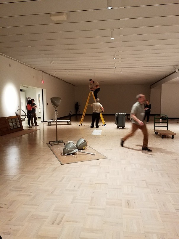 "Collaborative sculptural soundscape ""Rainforest IV"" installation in progress at Memorial Art Gallery. - PHOTO PROVIDED"