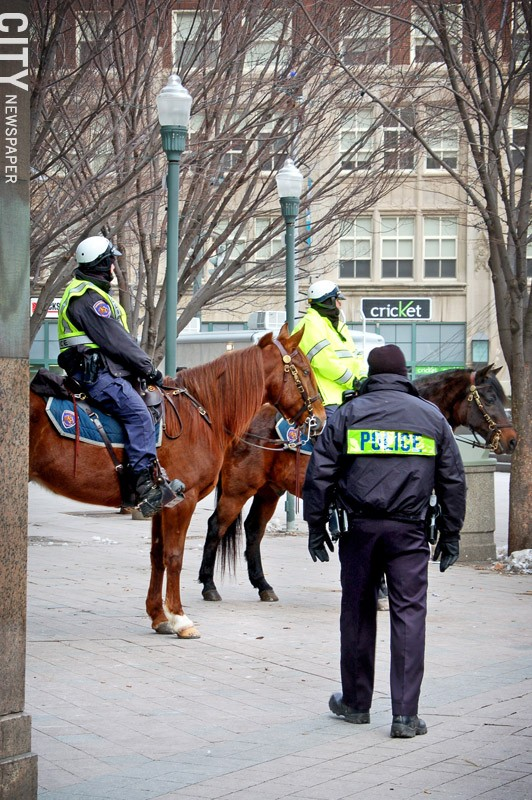 Among the programs the city has created to strengthen ties between the police and the public: the department's mounted patrol. - PHOTO BY RYAN WILLIAMSON