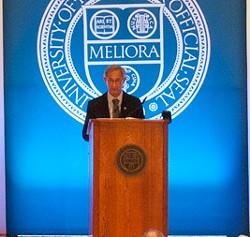"University of Rochester President Joel Seligman, preparing to leave ""the best job in the Universe."" - RENEE HEININGER"
