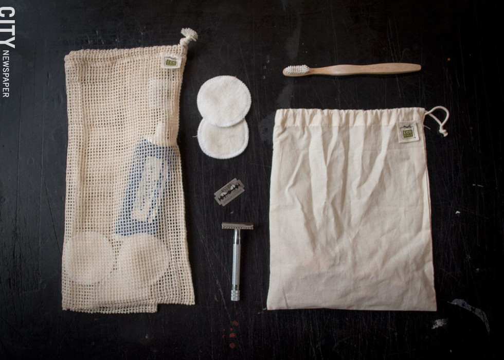 Meyvis now uses plastic-free toothbrushes, reusable face pads and a refillable safety razor, and cloth bags in lieu of typical plastic alternatives. - PHOTO BY RYAN WILLIAMSON