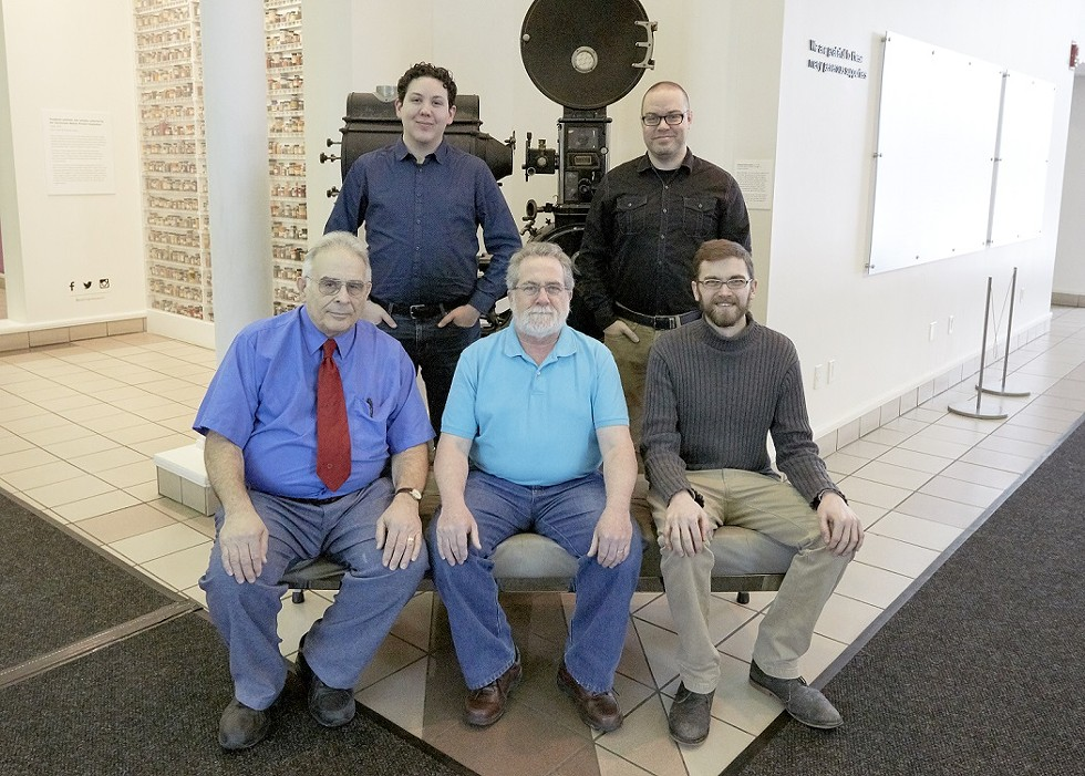 The projection team of the Nitrate Picture Show (from top left): chief projectionist Spencer Christiano, Patrick Tiernan, Darryl G. Jones, Jim Harte, and Sam Lane. - PHOTO PROVIDED