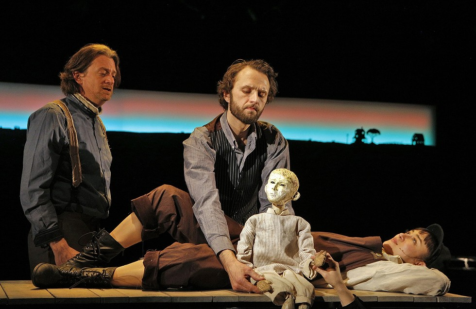 """Josh Rice puppeteering in """"The Scarlet Ibis"""" at HERE Arts Prototype Festival. - PHOTO BY CORY WEAVER"""