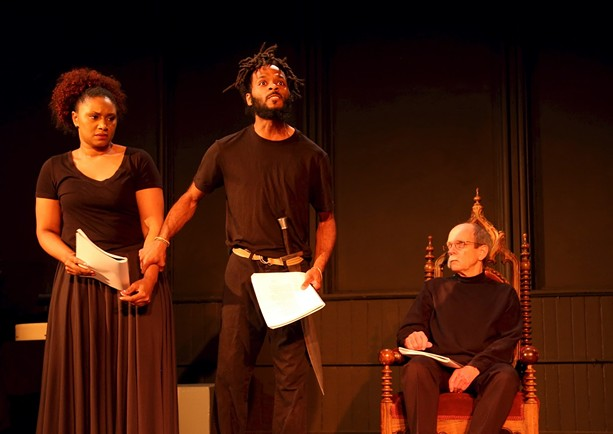 """Adryanna Elmendorf, Anderson Allen, and Roger Gans in """"Living in Exile."""" - PHOTO BY ANNETTE DRAGON"""