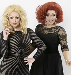 """Aggy Dune and Mrs. Kasha Davis star as two traveling drag queens in """"The Legend of Georgia McBride."""" - PHOTO BY TAMMY SWALES"""