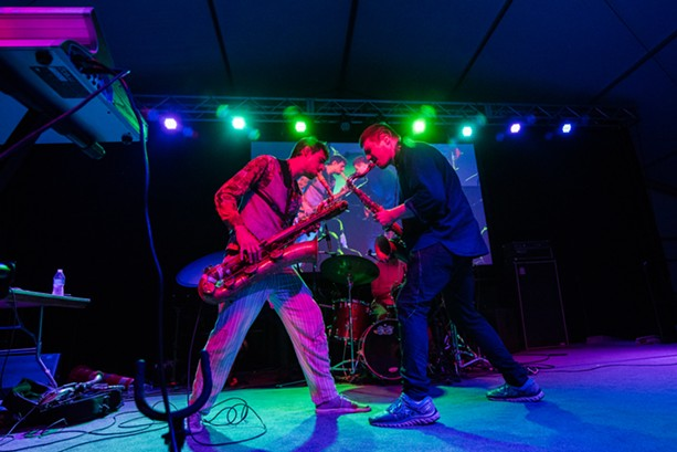 Moon Hooch rocked the Big Tent on Sunday as part of the 2018 Xerox Rochester International Jazz Festival. The band plays again Monday. Bring your own glow sticks. - PHOTO BY JOSH SAUNDERS