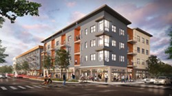 Home Leasing wants to build a 66-unit apartment building on a key parcel of the former Inner Loop. - SWBR ARCHITECTS