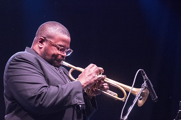 Trumpeter Jeremy Pelt played with the Miles Electric Band Friday night. - PHOTO BY ASHLEIGH DESKINS
