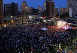 Both the Fringe Festival and the Xerox International Jazz Festival have staged events on Parcel 5, drawing massive crowds. - PHOTO BY PETER PARTS, COURTESY OF THE XEROX ROCHESTER INTERNATIONAL JAZZ FESTIVAL