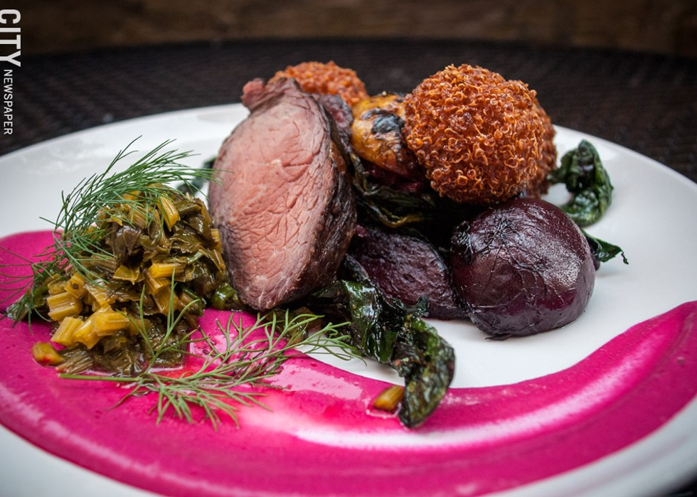 "On the menu at a recent Hearth and Cellar pop-up dinner: ""Fantasy of Beets"" (with roast beef), a dish of whole roasted beets with quinoa fritters, sauteed chopped beet greens, and dill. - PHOTO BY RYAN WILLIAMSON"