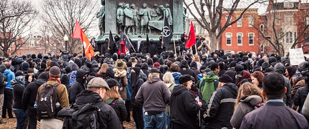 Protesters gather the morning of Trump's inauguration in Logan Circle, Washington, DC. - PHOTO: MOBILUS IN MOBILI / PUBLIC DOMAIN