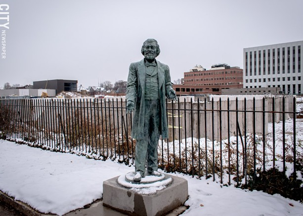 A statue of abolitionist Frederick Douglass that stood at the corner of Alexander and Tracy Streets was severely damaged this weekend during an apparent attempt to steal it. The statue is one of several fabricated by artist Olivia Kim and placed around the city on commemoration of the 200th anniversary of Douglass's birth. - PHOTO BY RYAN WILLIAMSON