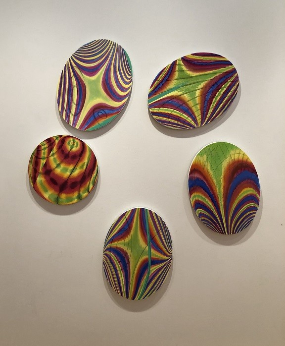 "Alan Singer's oil painting installation ""Five Spot."" - PHOTO BY REBECCA RAFFERTY"
