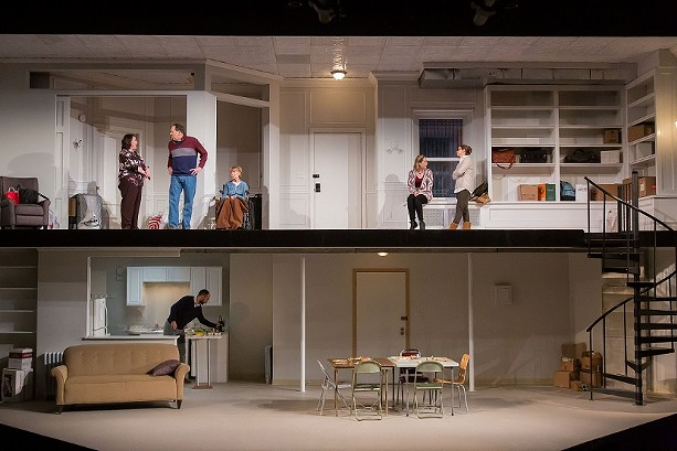 "Upstairs: Toni DiBuono, Skip Greer, Susanne Marley, Regan Moro and Madeleine Lambert; and downstairs: Thamer Jendoubi in Geva Theatre Center's production of ""The Humans. - PHOTO BY GOAT FACTORY MEDIA ENTERTAINMENT"