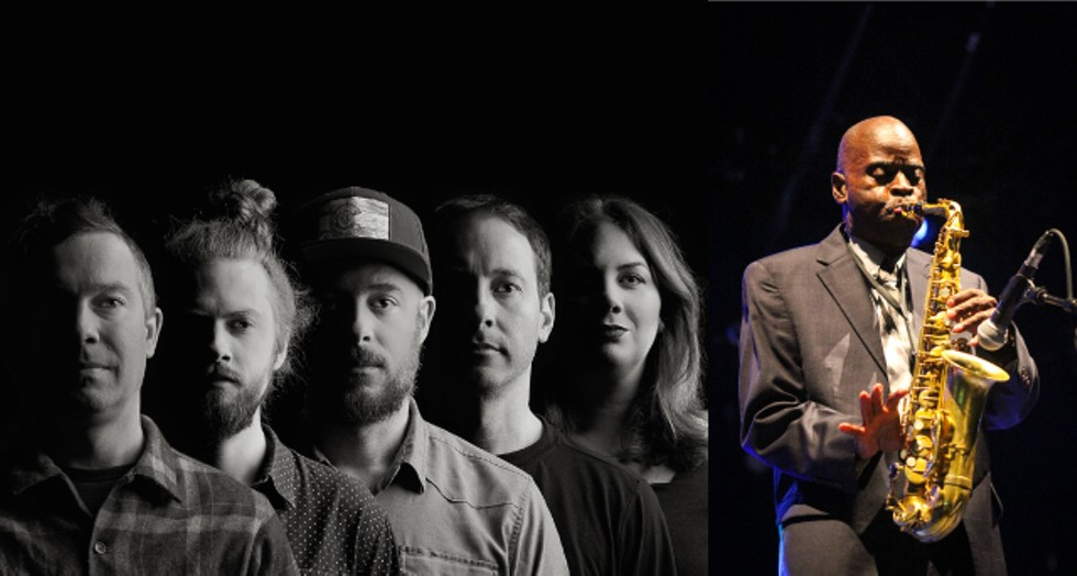 Yonder Mountain String Band (left) will play the Rochester Lilac Festival on May 10, while  saxophonist Maceo Parker will take the festival stage on May 16. - LEFT PHOTO BY EMILY BUTLER; RIGHT PHOTO BY LAURENT GRAFFION