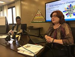 Dr. Idonia Owens, left, is Rochester City School District's chief of schools, and  Betsy Hoffer, right, is the district's associate director of attendance. During a press conference Tuesday, they discussed the district's new attendance policies and practices. - PHOTO BY JAMES BROWN / WXXI