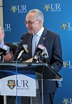 During a press conference at University of Rochester Medical Center, Senator Chuck Schumer called for the release of Robert Mueller's report on his investigation into possible connections between President Donald Trump's campaign and Russia. Schumer held the press conference to call for continued federal funding of a URMC opioid treatment program. - PHOTO COURTESY WXXI