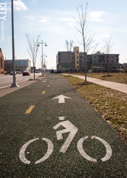 The bike path along Union Street is part of an effort to create a more bike-friendly city. - PHOTO BY RYAN WILLIAMSON