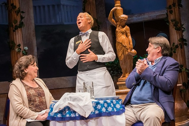 "Toni DiBuono, Danny Vaccaro, and Stephen Caffrey in Geva's production of ""Slow Food."""