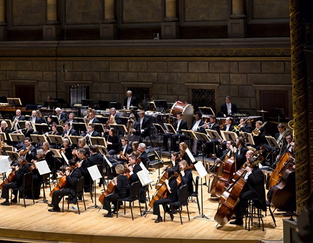 The Rochester Philharmonic Orchestra performing in Kodak Hall at Eastman Theatre.