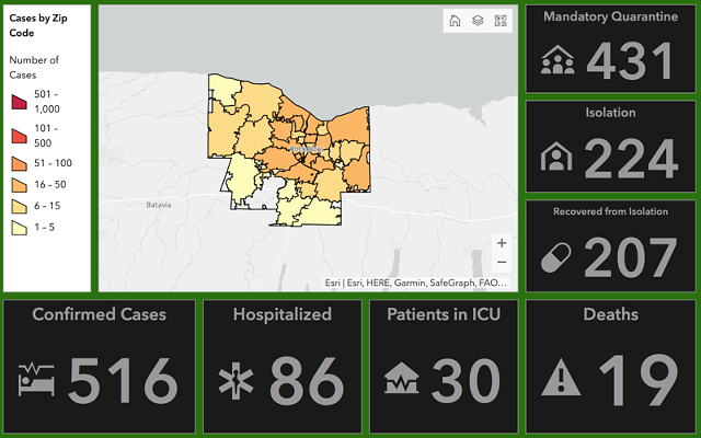 A partial screenshot of Monroe County's online COVID-19 dashboard as displayed the morning of Monday, April 6.