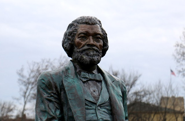 One of 13 Frederick Douglass statues that were erected around Rochester in 2018 to honor the abolitionist's 200th birthday.