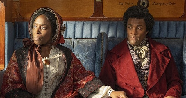 """Sharlene Whyte and Ray Fearon as Anna Murray and Frederick Douglass in Isaac Julien's film installation, """"Lessons of the Hour — Frederick Douglass."""""""