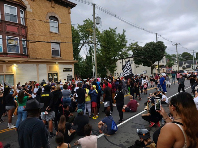 Demonstrators gathered at Jefferson Avenue and Dr. Samuel McCree Way in Rochester on Wednesday, Sept. 2, 2020, in remembrance of Daniel Prude.