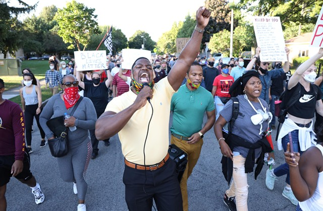 Black Lives Matter, clergy and politicians clash on Thursday, September 3 as Daniel Prude protests continue. Adrian Hale, center, takes the mic.