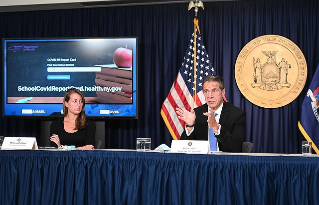 Governor Cuomo holds a briefing on September 24, 2020. At left is Chief of Staff Melissa DeRosa.