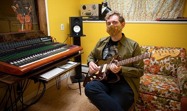 Ben Morey in his studio at The Submarine School of Music in Brighton.