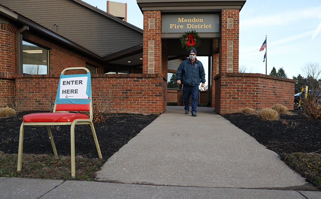 Voter heads in to cast their ballot in the Mendon Fire District election on Tuesday, Dec. 8.