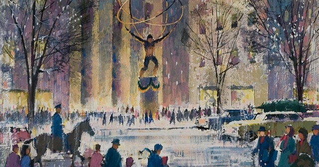 """Part of the Memorial Art Gallery's collection, Ralph Avery's immensely cheerful watercolor, """"Atlas/Rockefeller Center, Winter,"""" is packed with the activity of skaters twirling below the iconic statue, surrounded by city buildings and bundled-up passersby."""