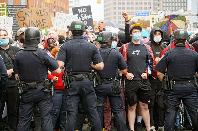 Protesters and police clashed in Rochester on May 30, 2020.