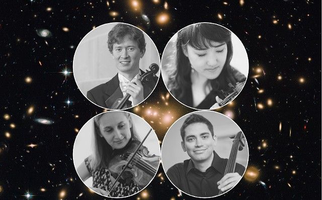 The Salaff Quartet: Thomas Rodgers (top left), Aika Ito (top right), Molly McDonald (bottom left), Benjamin Krug (bottom right)