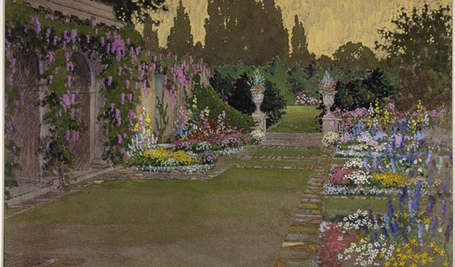 John Wenrich (American, 1894–1970). George Eastman's gardens, 1921. Gouache. Museum accession.