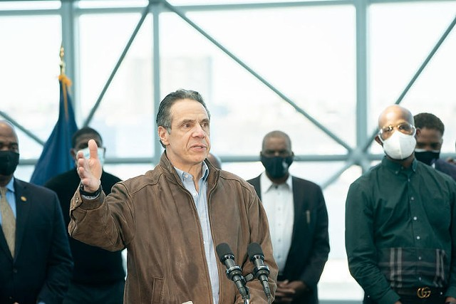 Gov. Andrew Cuomo visits a COVID-19 vaccination site at the Javits Center in New York City on March 8, 2021.